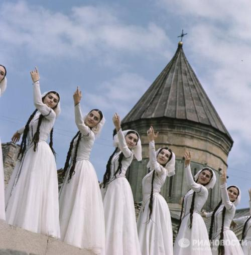 A Georgian folk ensemble performing The Dance of Fairies. 1969.