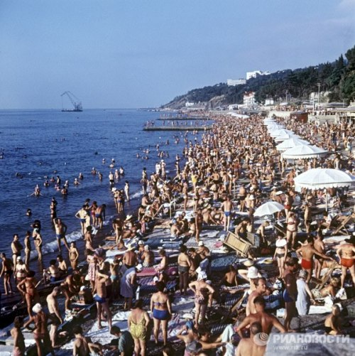 Beach in Yalta, a popular Soviet resort on the Black Sea. 1966