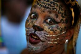 A reveller takes part in the annual block party Cordao de Boitata during pre-carnival festivities in Rio de Janeiro, Brazil. REUTERS/Pilar Olivares